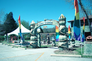 Terra Studios entrance with clay sculptures