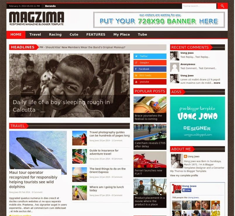 magzima responsive magazine blogger template amazing blogger templates. Black Bedroom Furniture Sets. Home Design Ideas