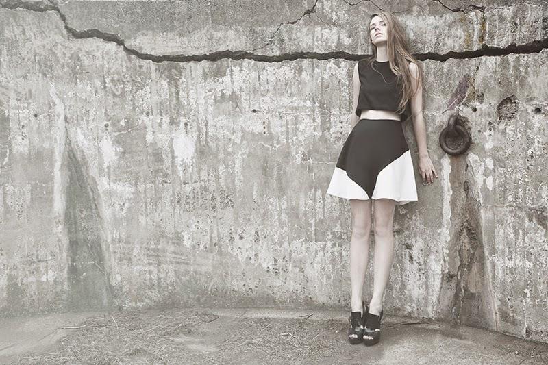 alyssa nicole, alyssa nicole signature collection, little black dress, couture, san francisco style, lookbook, aline skirt, cropole skirt, top, color block skirt, black and white skirt, alyssa nic