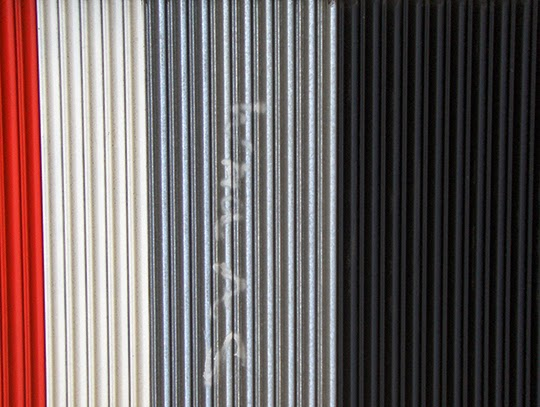 steel flag, urban, photography, red, white, grey, black,