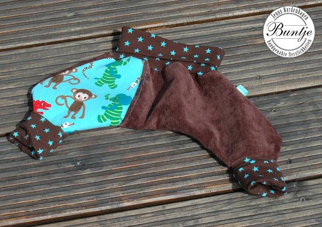 Pumphose Mitwachshose Hose Baby 56 62 Cord Baumwolle Bündchen Spreizhose braun türkis Affe Dschinni handmade Buntje
