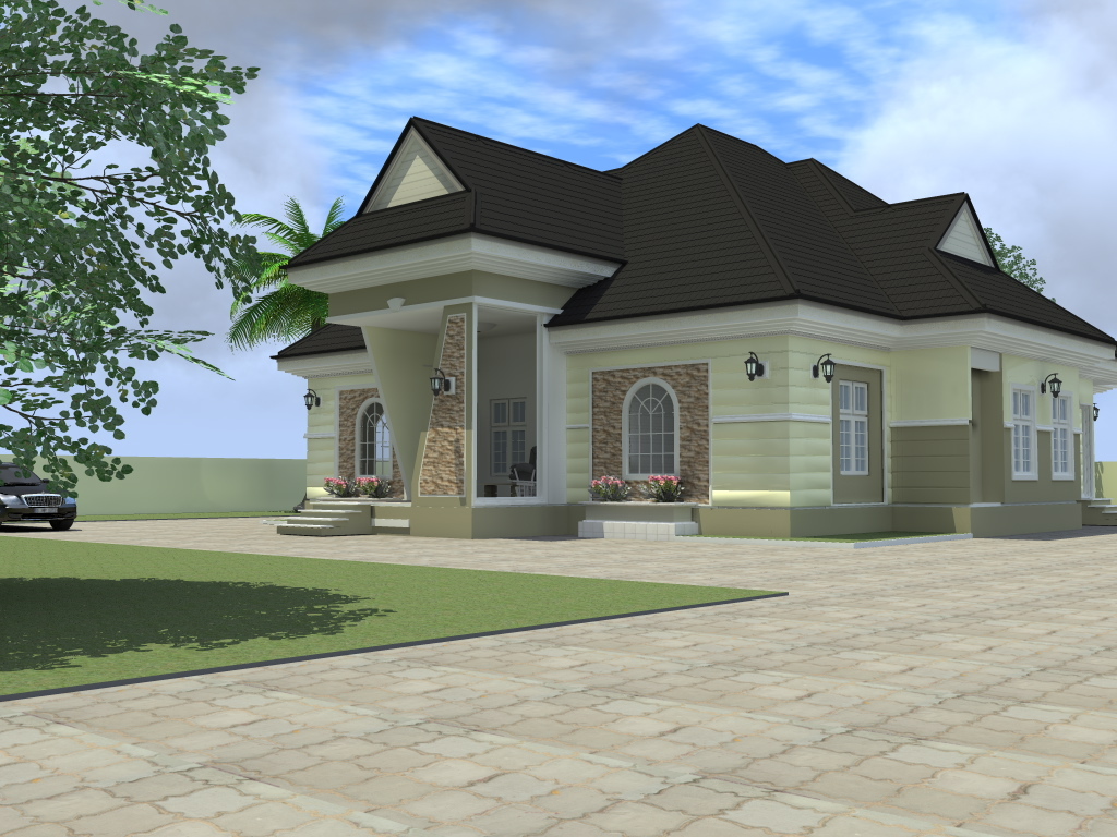 Residential homes and public designs 4 bedroom bungalow Bungalo house