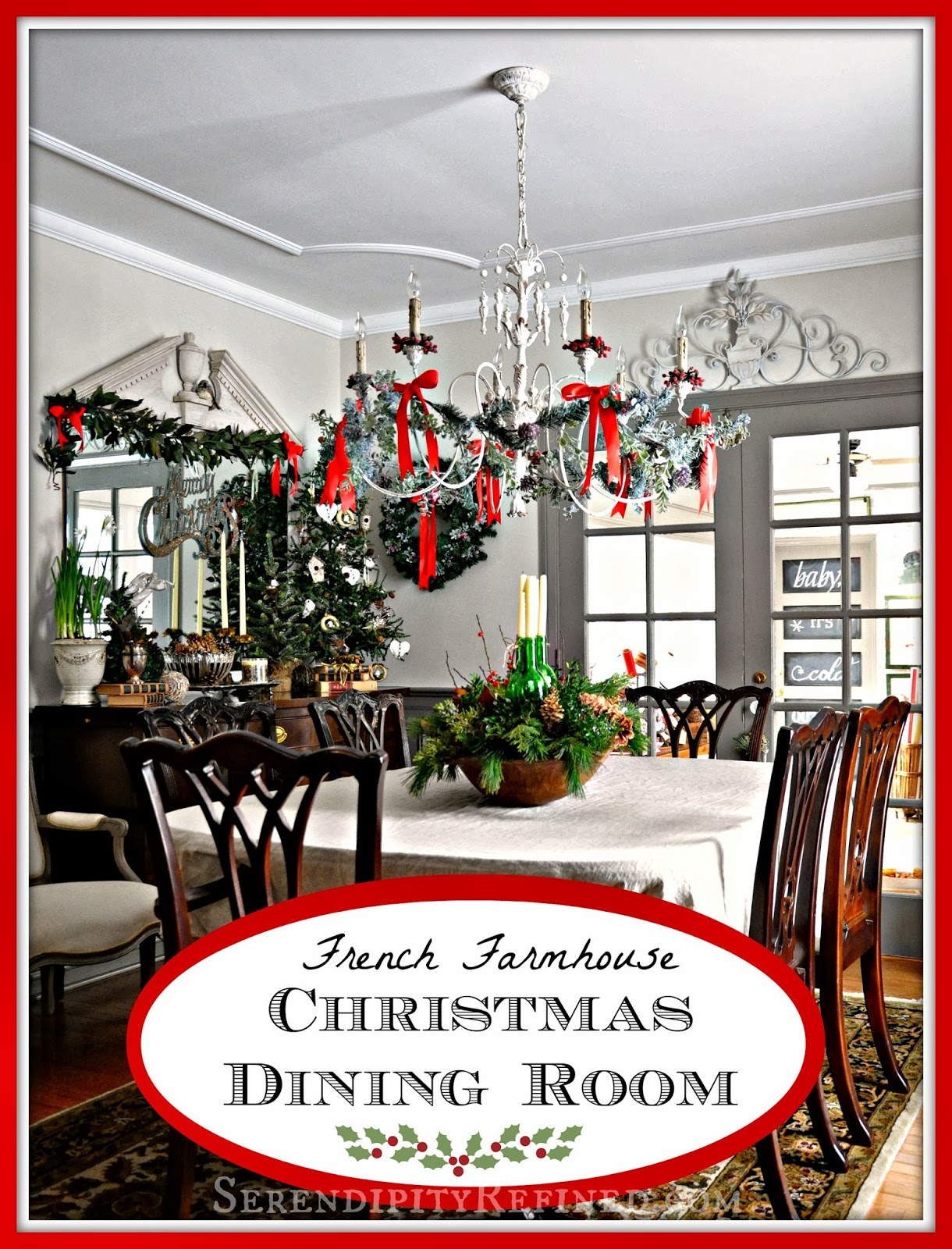 French country gray dining room - French Country Inspired Christmas Dining Room
