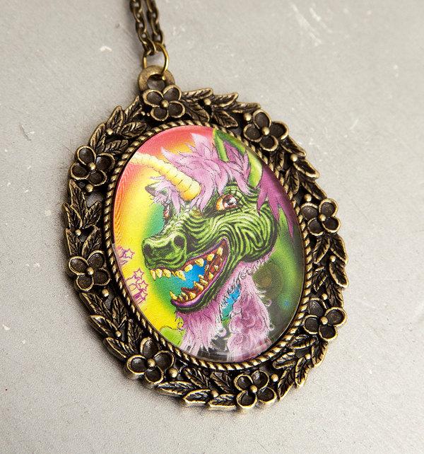 Zombie Unicorn Necklace by Goraline on Etsy