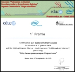 1er. puesto en el Concurso de Blogs educativos