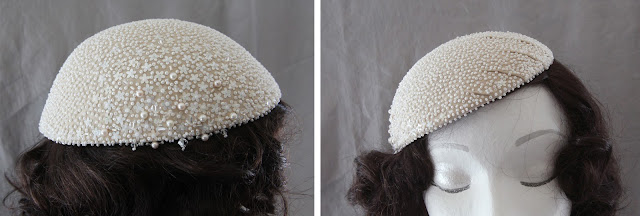 1950s-inspired, vintage-style bridal cap