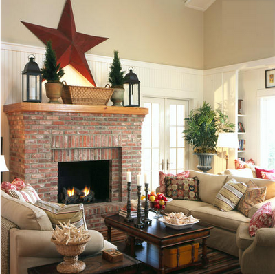 Fire place on pinterest brick fireplaces corner Brick fireplace wall decorating ideas