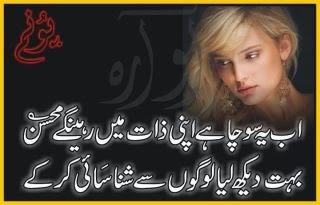 Ab Yeh Socha Hai Apni Zaat Mein Rahengay Mohsin, Bohet Dekh Liya Logon Say Shana Sahi Kar Kay.