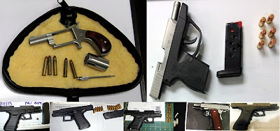 Firearms Discovered at (Top to Bottom - Left to Right) RDU, RDU, FLL, PHX, LAS, IAH, IAH