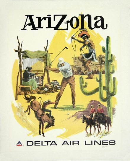 free printable, printable, classic posters, free download, graphic design, retro prints, travel, travel posters, vintage, vintage posters, Arizona, Delta Air Lines - Vintage Travel Poster