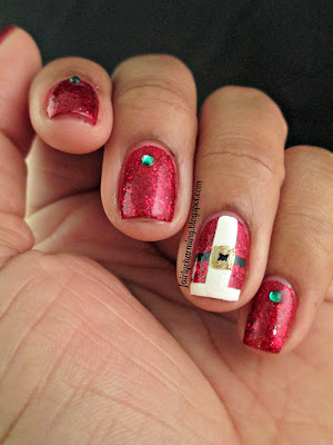 Shimmer Polish Cindy, Santa, Christmas, red, glitter, glitter bomb, nails, nail art, nail design, mani