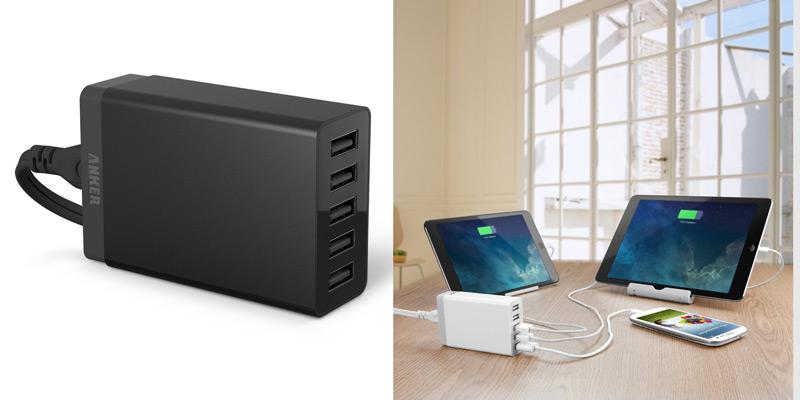 Aknerの5ポートを持つ40W版USB急速充電器があった。しかもカラバリあり!