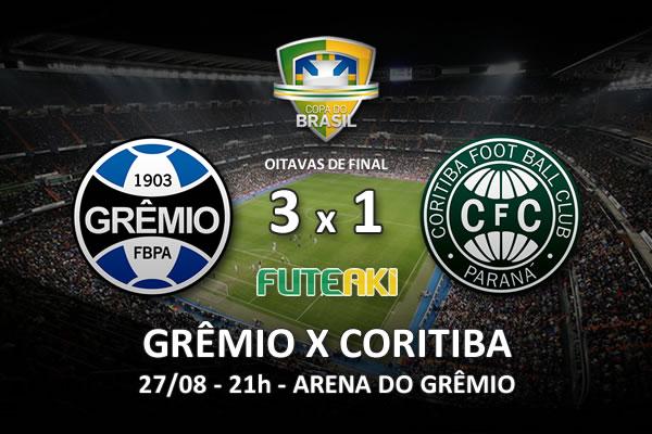 Veja o resumo da partida com os gols e os melhores momentos de Grêmio 3x1 Coritiba pelas oitavas de final da Copa do Brasil 2015.
