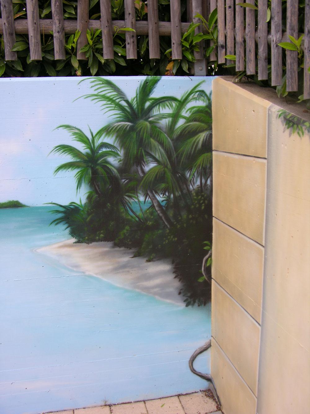 Trompe l 39 oeil avec plage et palmier bienne for Fausse plante palmier