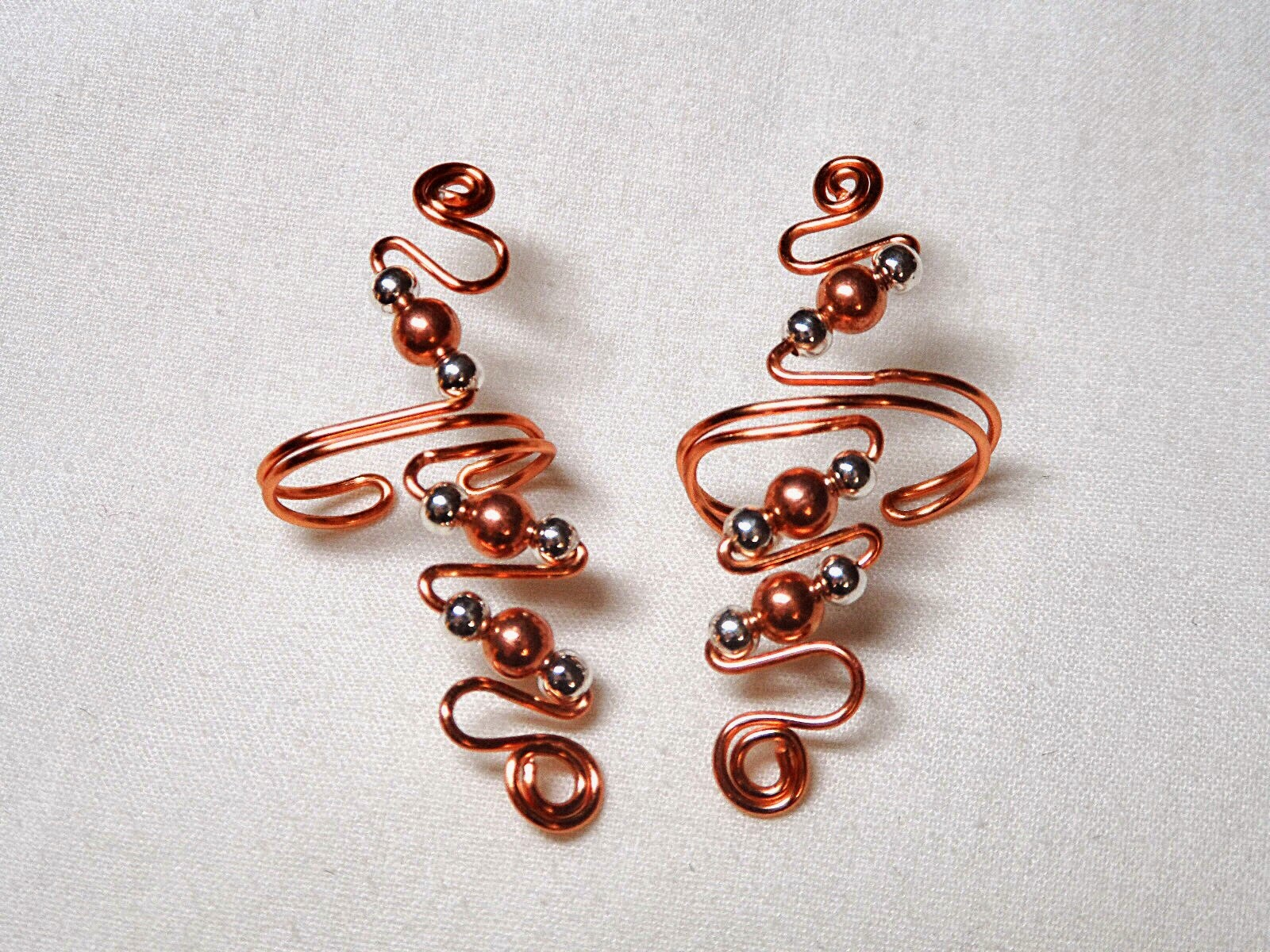 polished Copper and Silver Ear Cuffs