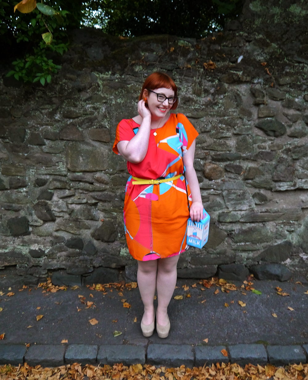 What Helen Wore, shop small, shop local, Scottish Design, Taisir Gibreel, Dundee Wearable Art Show, wearable art, silk dress, skinnydip milk bag, lucky dip club shell necklace, red head, ginger