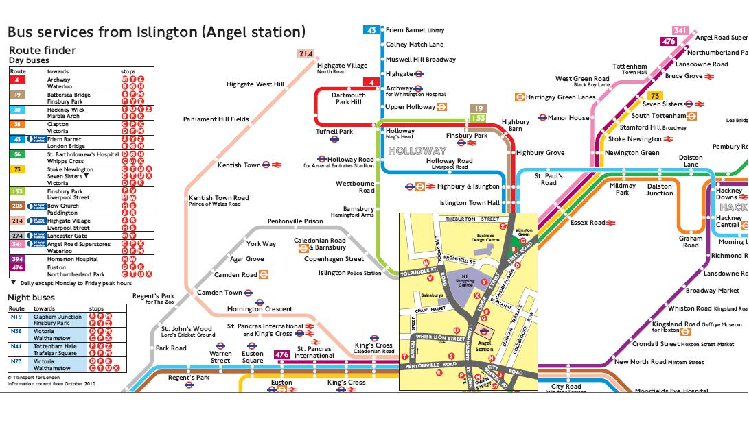 An extract from the transport for london map of buses from angel