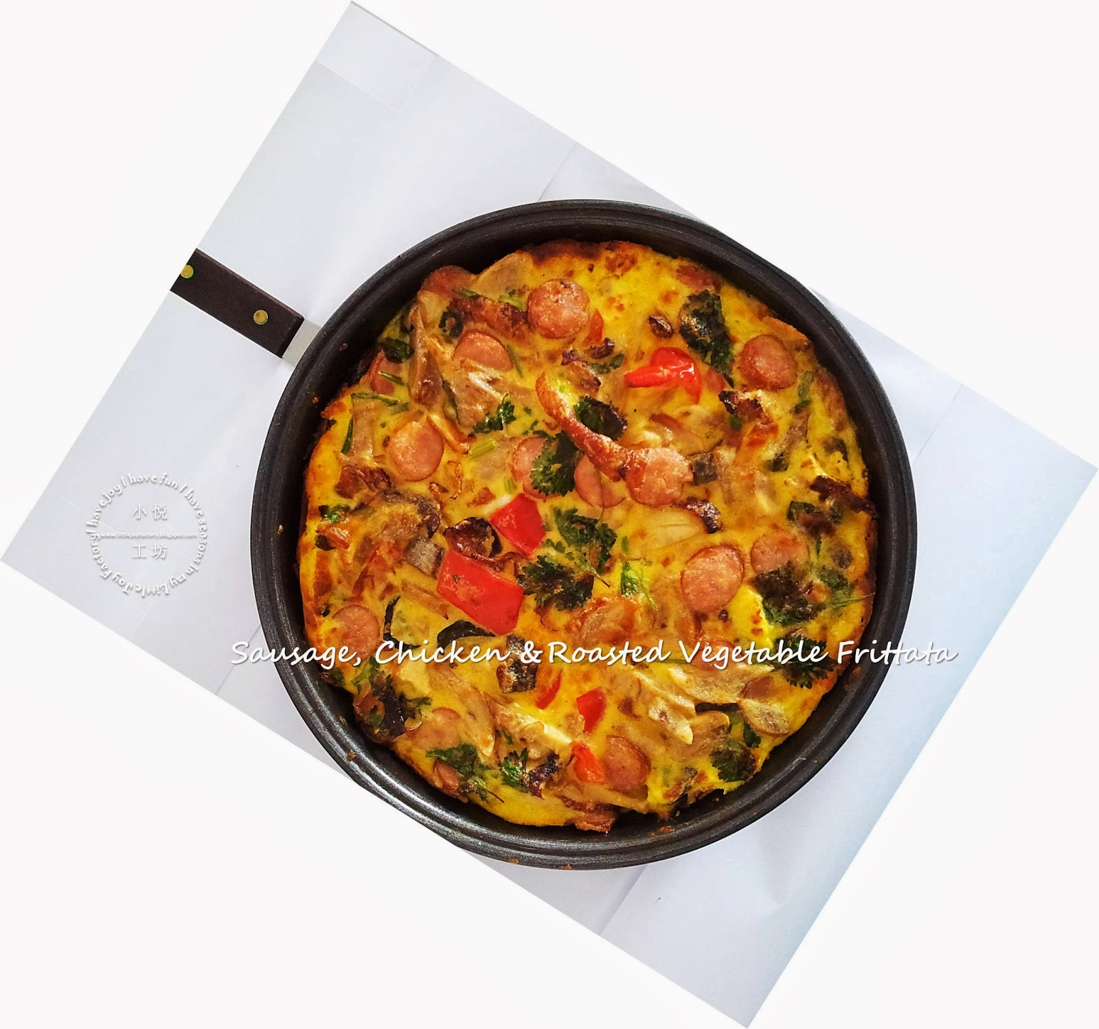 Frittata with Roasted Vegetables, Sausage and Chicken