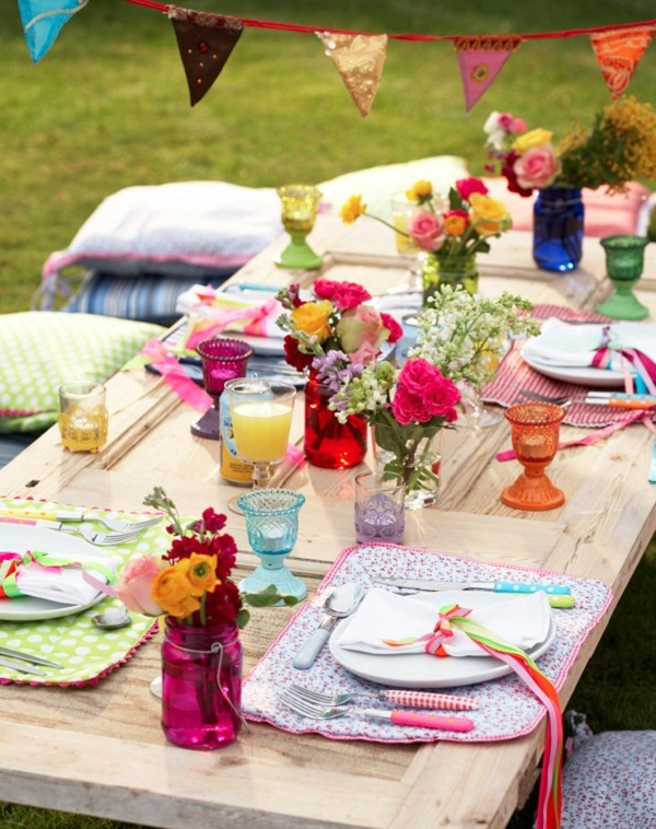 Easter Table Setting Idea Layout Lunch Outdoor Party Picnic Decoration Decor Spring Colorful Fun Romantic Tulip Centerpiece Flower Orange Pink Blue Green   ...