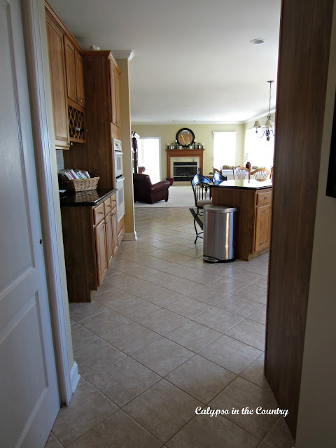 Oak Kitchen with Tile Floors Before