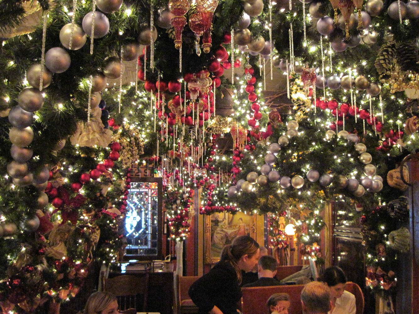 old new york christmas is served at rolfs german restaurant - Old Christmas Decorations