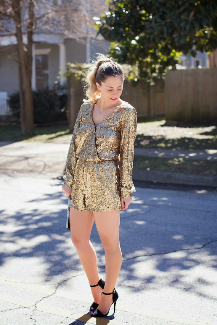 Bedazzles After Dark Outfit Post Gold Sequin Romper