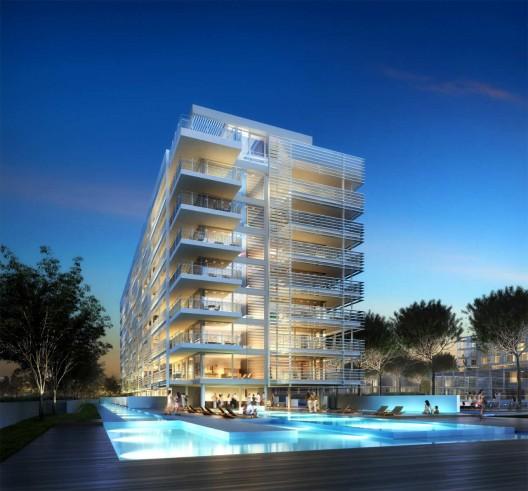 Linea di sezione jesolo lido condominium for Richard meier opere