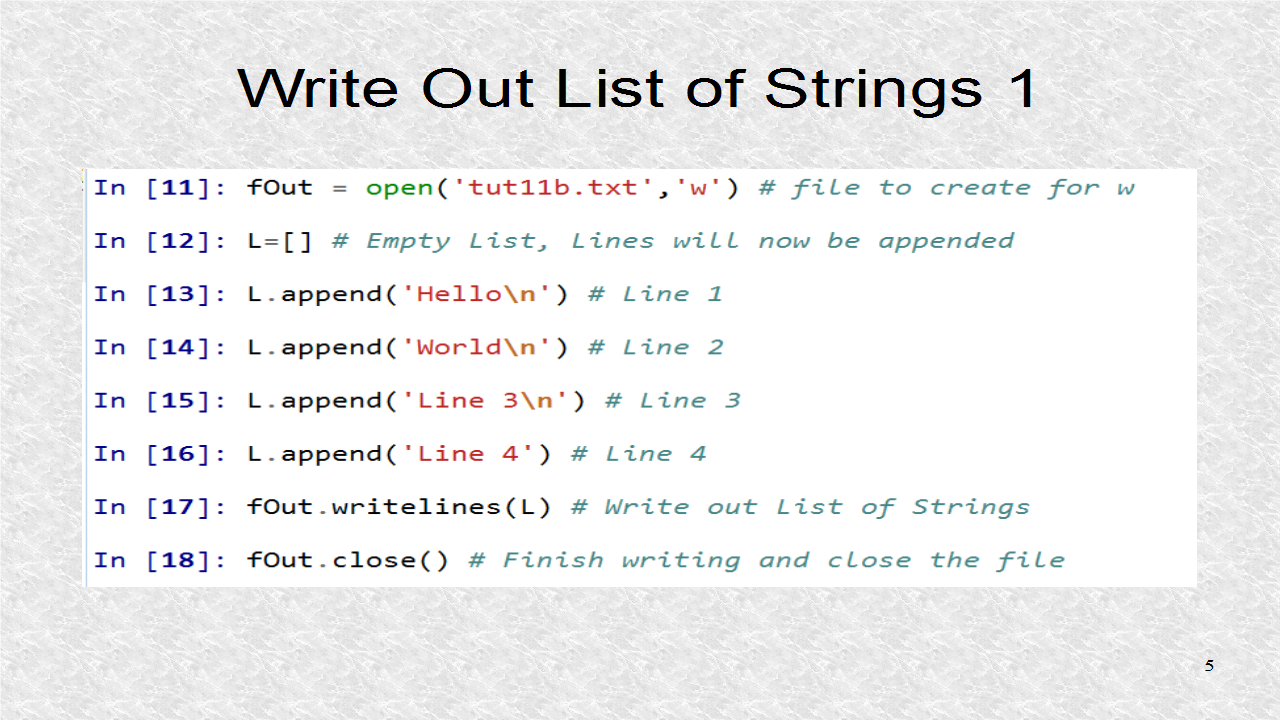 python how to write list to file