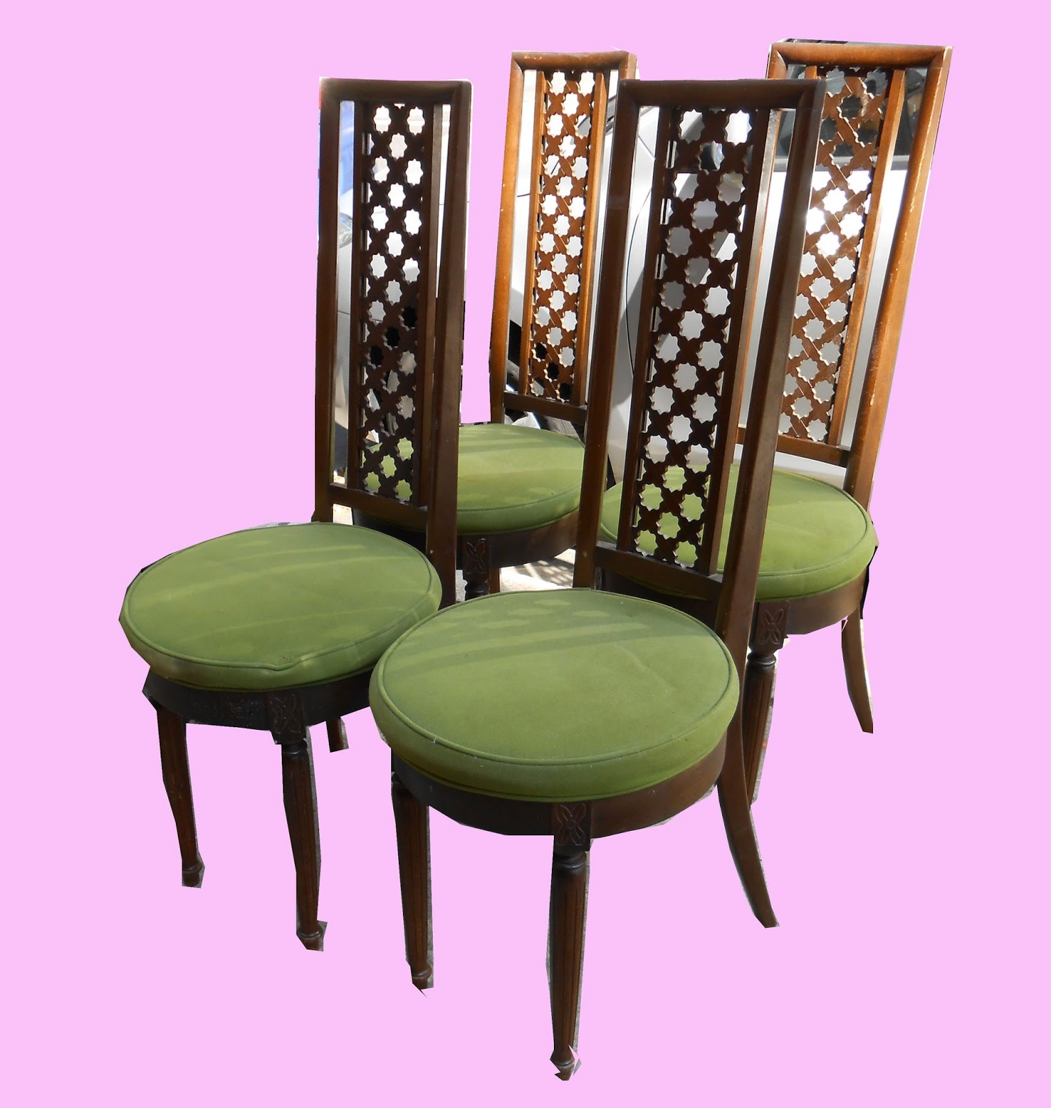 Uhuru Furniture Collectibles Set Of 4 Retro Dining Chairs W Green Vel