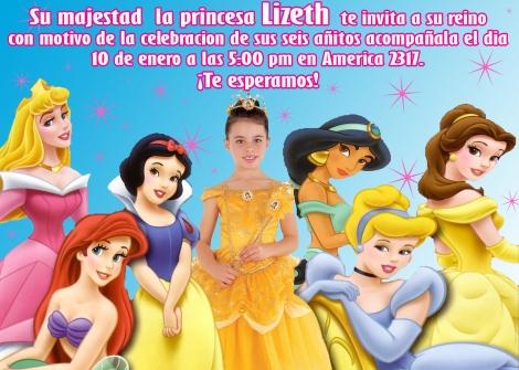Invitaciones de Cumpleaños con diseño de las Princesa ~ Artes DaVinci
