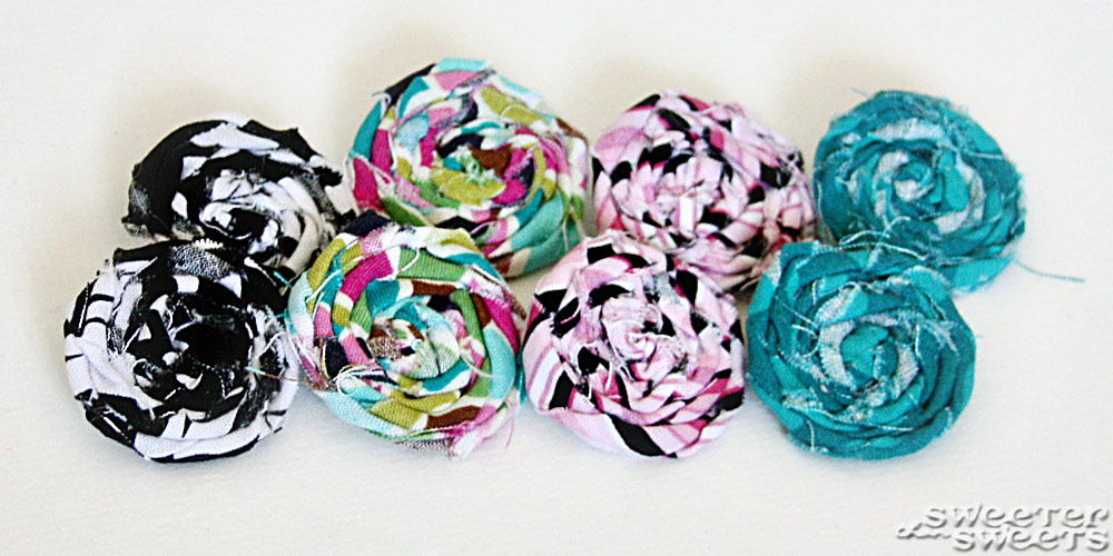Rolled Fabric Flower Shoe Clips by Tricia @ SweeterThanSweets on Etsy