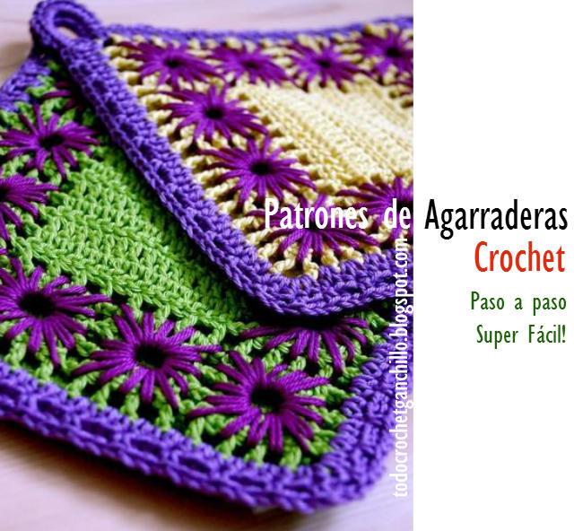 como hacer una agarradera crochet con bordado