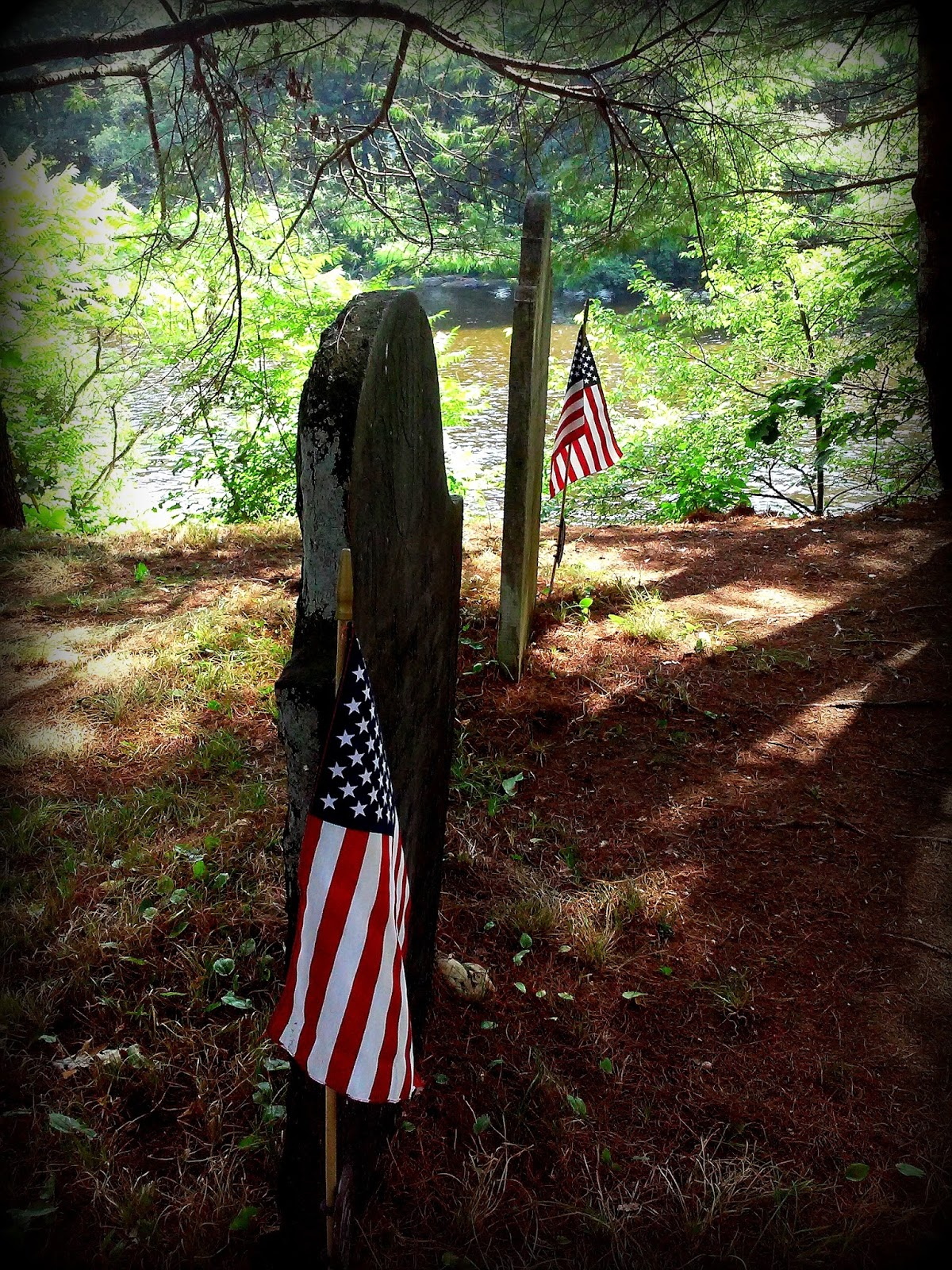 cemetery, charlemont, massachusetts, shadow, flag, grave stones