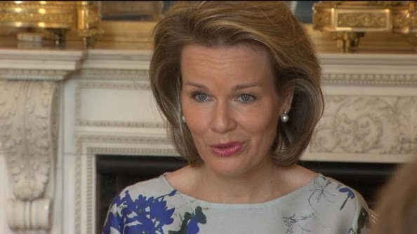 Queen Mathilde of Belgium attends a congress on various forms of bullying at the Royal Palace in Brussels