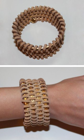 Leather wrapped bracelet DIY