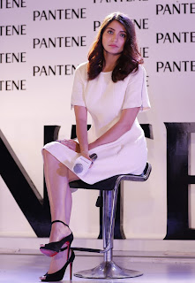 Anushka Sharma cute Beautiful in Light Makeup Short Cream Dress at Panteen Best Ever Event Launch Mumbai