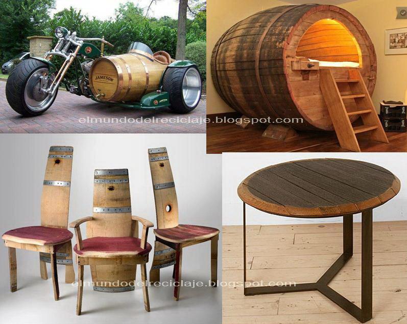 El mundo del reciclaje recicla un barril de madera for Cosas hechas de madera