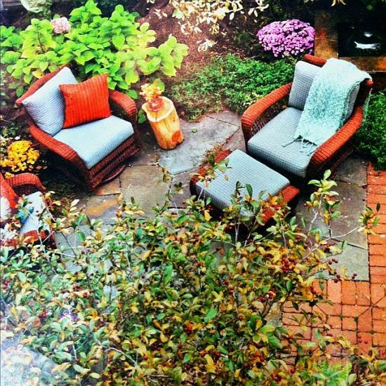 turquoise and orange garden furniture