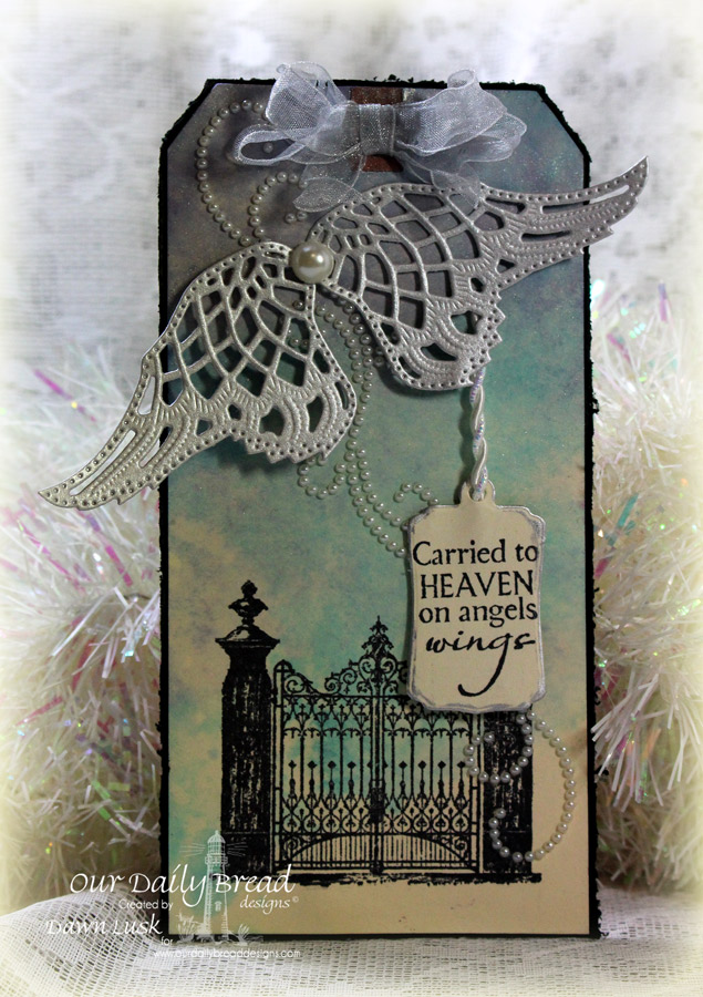 Stamps - Our Daily Bread Designs The Gate, Carried to Heaven, ODBD Custom Mini Tags Dies, ODBD Custom Angel Wings Dies