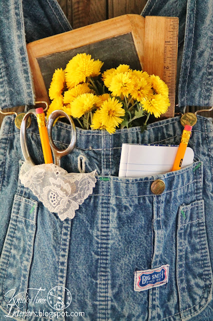 Repurposed Jeans Denim Overalls Wall Pocket by http://knickoftimeinteriors.blogspot.com/