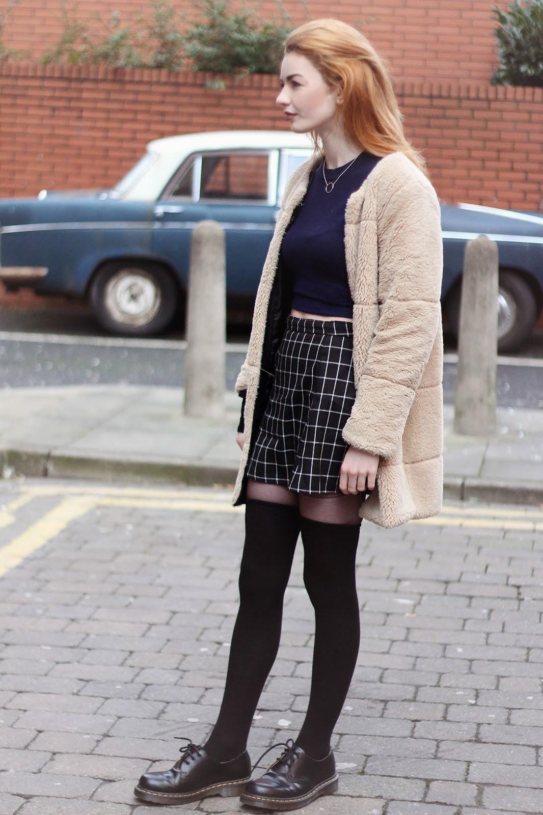 grid print skirt
