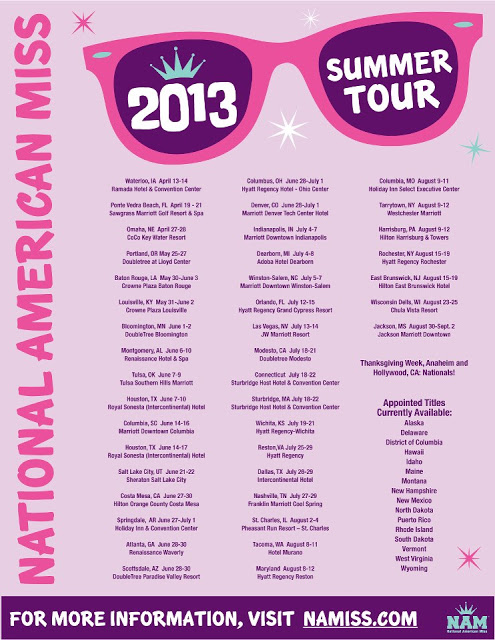 2013 National American Miss Summer Tour Dates