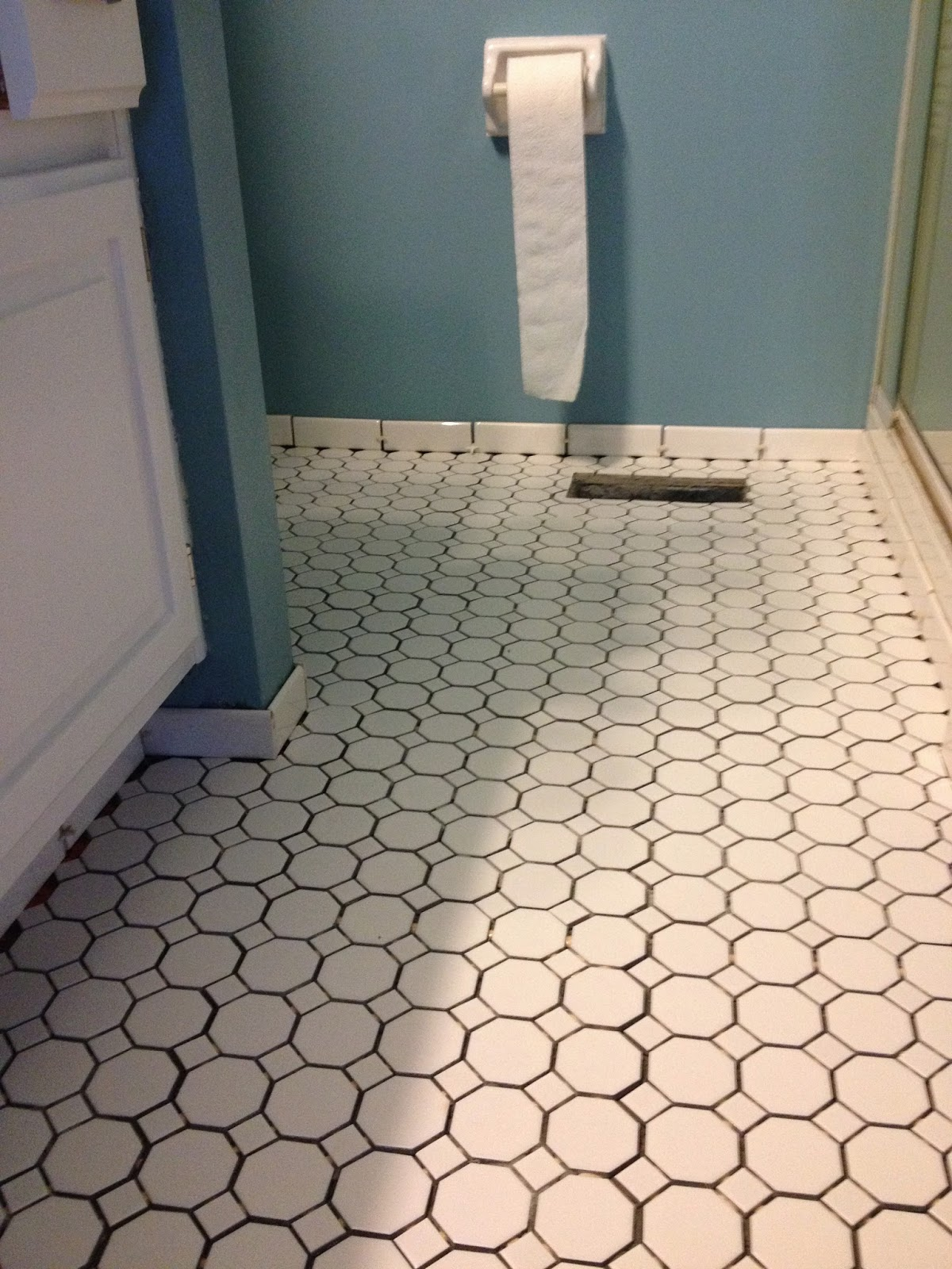 Oh what a gem small bathroom redone in a big way in case youre wondering i got this tile at lowes its american olean sausalito white ceramic tile on the floor and american olean starting line white dailygadgetfo Choice Image