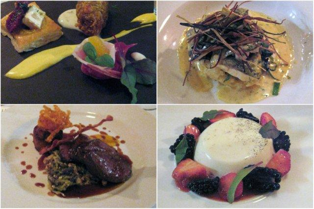 Platos en el Restaurante Eat on the Green, Udny Green, Ellon, cerca de Aberdeen – Surtido de entrantes, lubina, venado y pana cotta de frutas del bosque