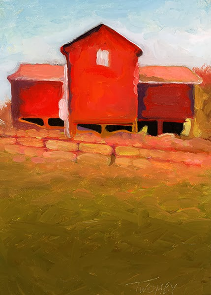 Oil painting by Twomey, barn plantation