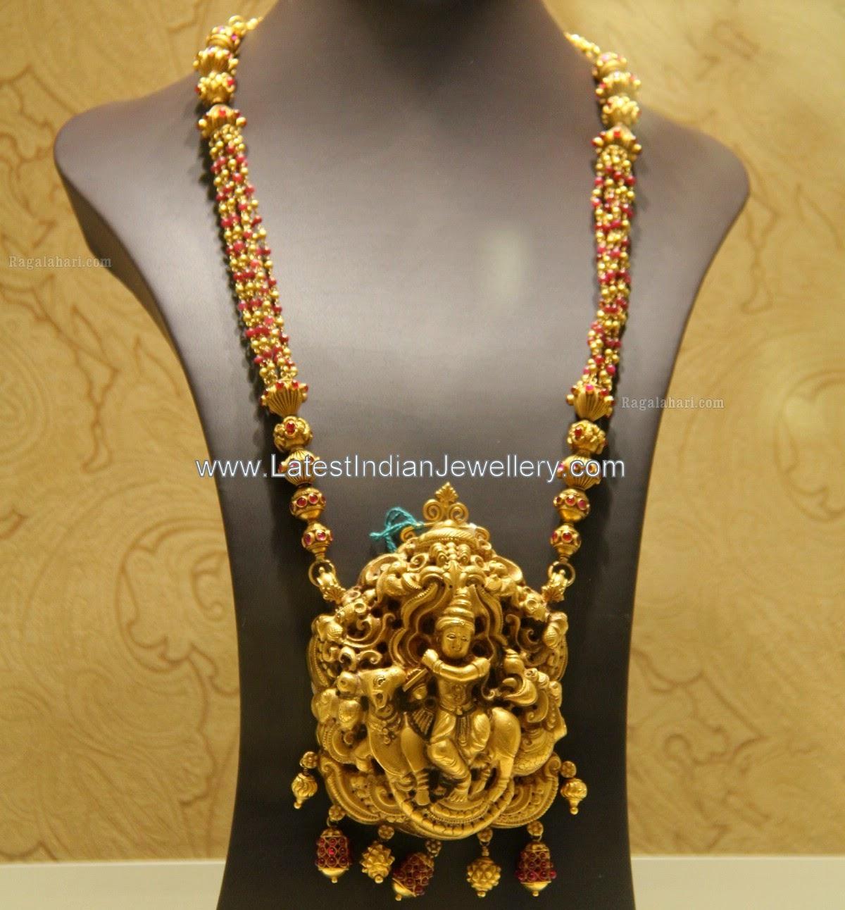 Gold Beads Haram with Krishna Pendant