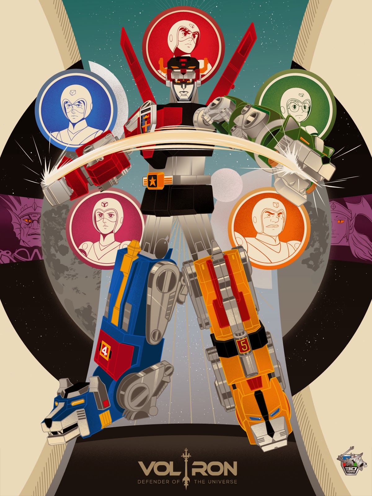 Voltron 30th Anniversary Print by Vincent Aseo
