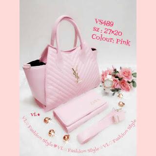 Paket murah Hanya 139 Rb (Tas + Dompet + Jam Tangan) Warna Pink, Kode VS489