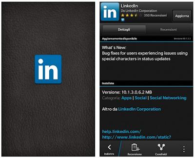 Aggiornata l'applicazione LinkedIn per Blackberry