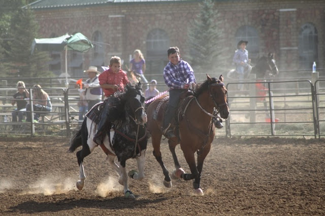 young riders in the crepe paper race, Sheridan Elk's Youth Rodeo